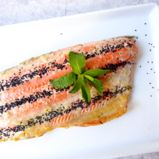 Tahini baked salmon