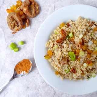 Healthy vegan quinoa couscous with raisins and figs