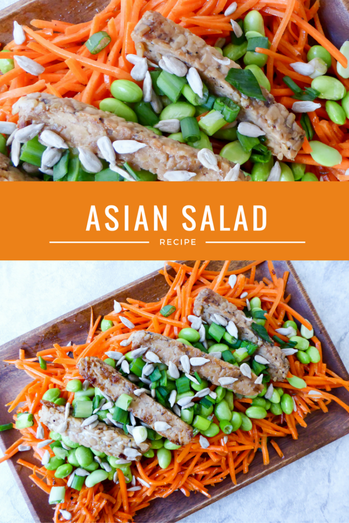 Gluten free and vegan asian salad made with carrots, edamame and tempeh