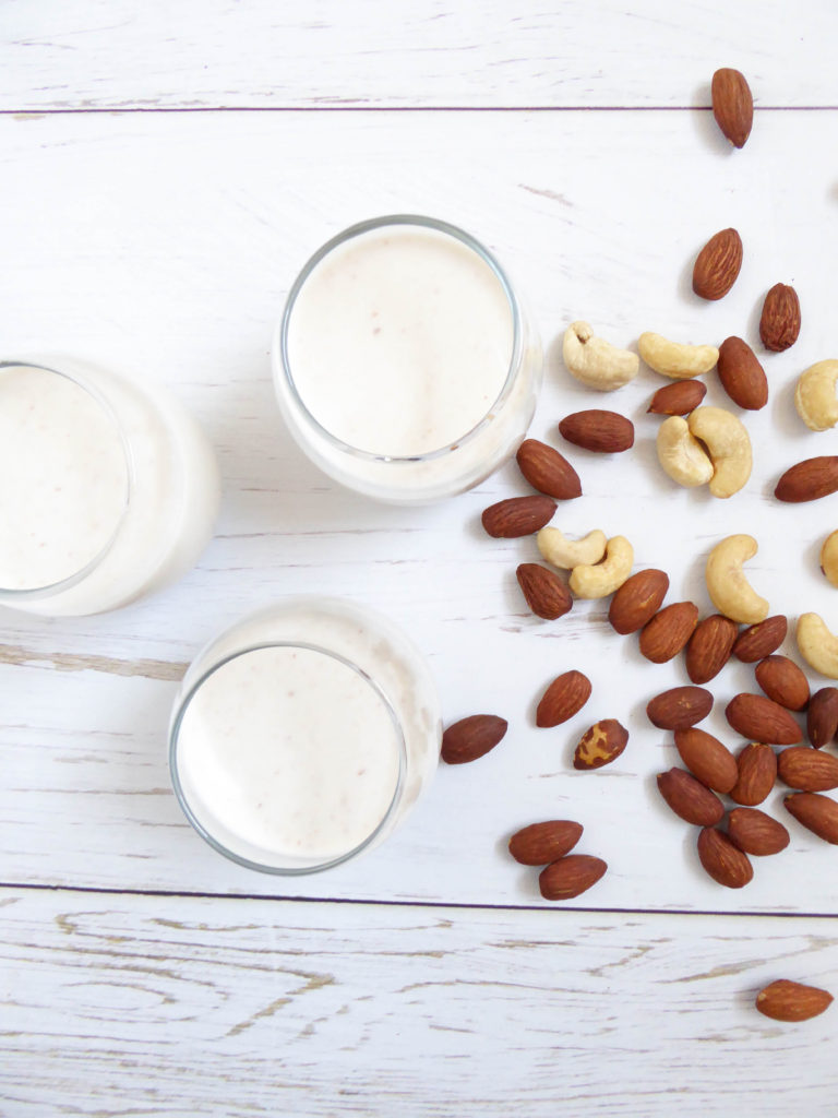 Almonds and cashews raw nut milk, vegan, healthy and delicious!