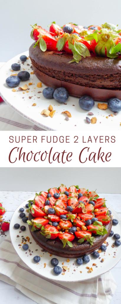 "Super fudge chocolate cake - Layered super lava cake on a homemade ""Nutella"" crust"