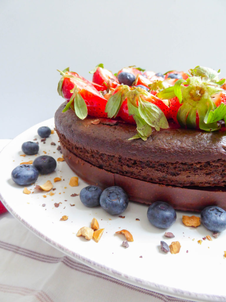 "Super fudge chocolate cake - Layered super lava cake on a homemade ""Nutella"" crust bed"