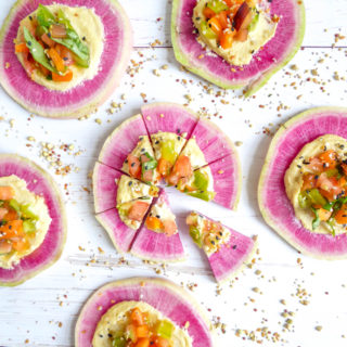 Raw Creamy Watermelon Radish Pizza - the perfect summer appetizer. Vegan, gluten-free and dairy free!